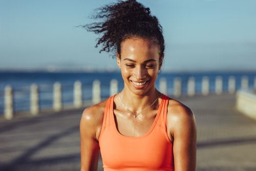 Woman sweating from summer exercise