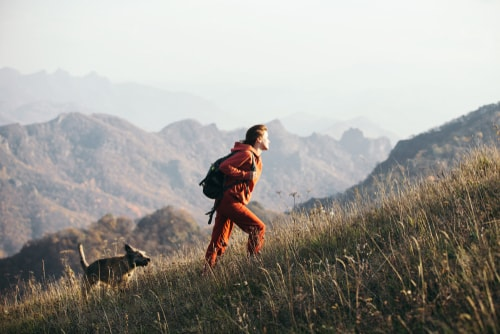 Woman walking dog on a hike uphill