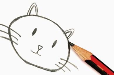 Dessin d'un chat au crayon de bois