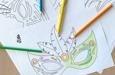 Coloriages Carnaval : masques pour enfant