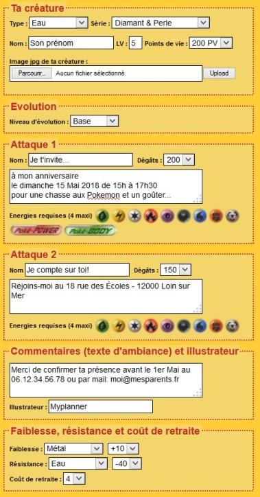 Exemple de texte pour une carte d'invitation à une anniversaire Pokemon