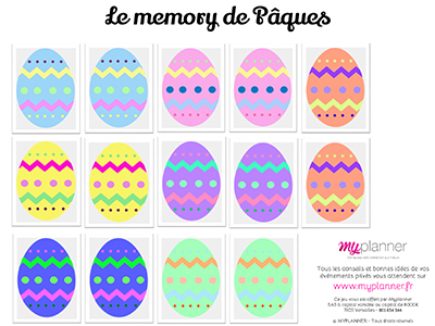 Le memory de Pâques, un jeu d'apprentissage pour les enfants