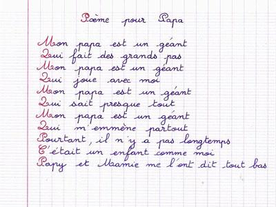 poème pour la fête des pères