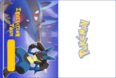 Carte d'invitation pokemon Lucario à imprimer et plier