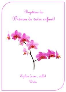 Couverture de livret de baptême rose pour fille représentant des orchidées