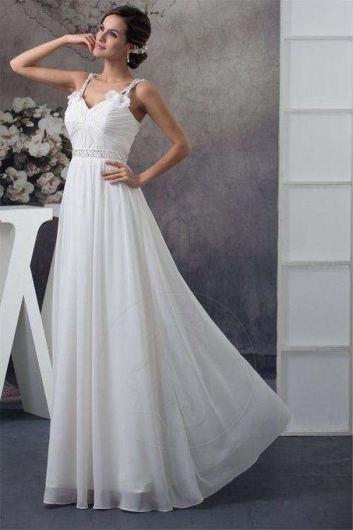 Robe de mariée à bretelles sans manches plissée avec cristaux
