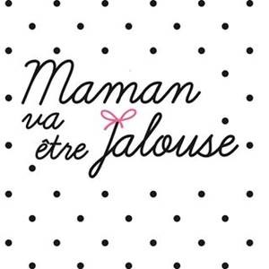 Logo Maman va être Jalouse sur fond petits pois noirs