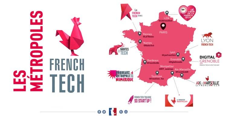 Carte des métropoles de la French Tech