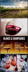 Infographie du guide de température des vins et champagnes