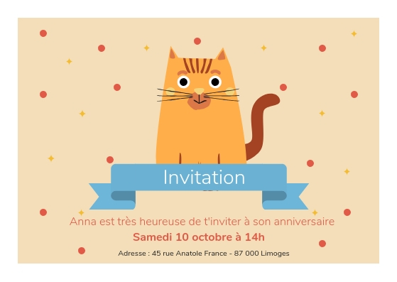 Carte d'anniversaire chat