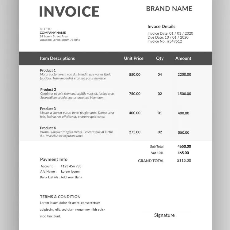 How does an invoice looks like