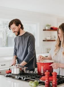Cooking at home together