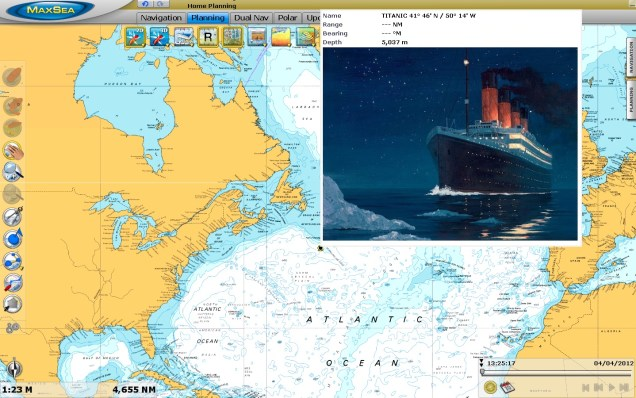 Titanic sinking in the North Atlantic Ocean on MaxSea TimeZero