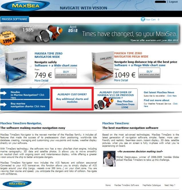 Buy chart update through MaxSea Webstore