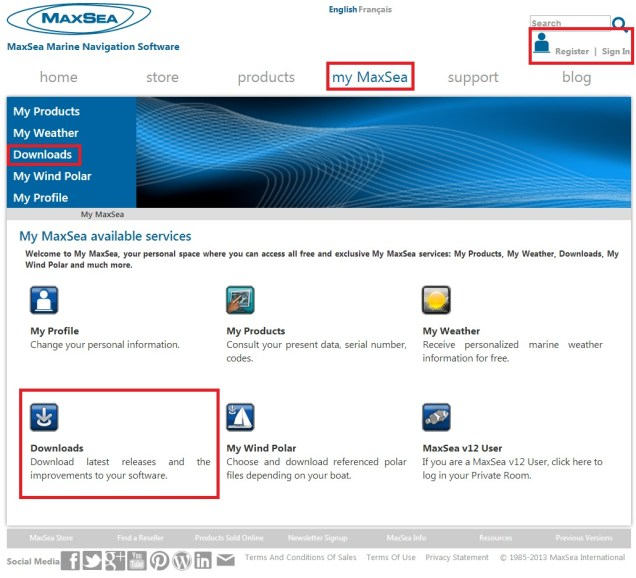 My MaxSea - Downloads