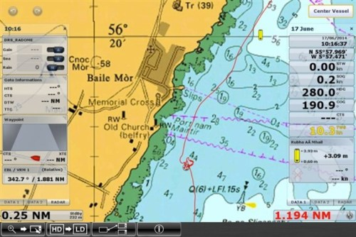 Anchoring a boat with raster charts