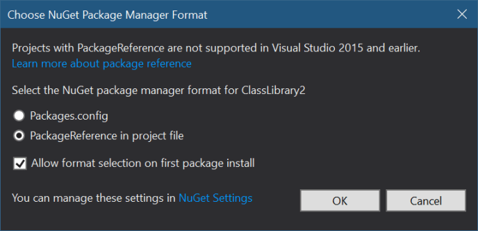 Choose NuGet Package Manager Format