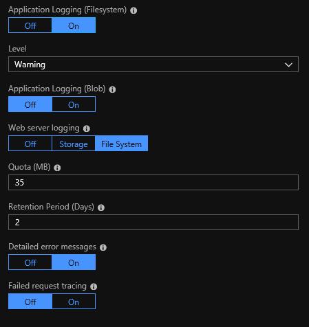 Diagnostic log settings
