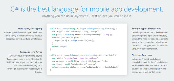 C# is a great choice for mobile developers