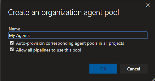 New agent pool dialog