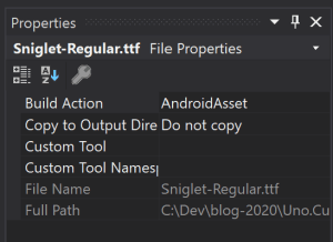 Build Action of the font file should be set to AndroidAsset in properties