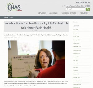 CHAS Health's blog post on Senator Cantwell's visit. Photo courtesy of CHAS Health.