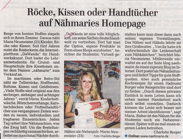 Ostseezeitung: Röcke Kissen oder Handtücher auf Nähmaries Homepage