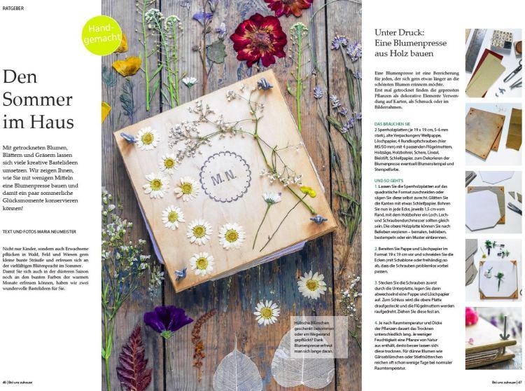"""Sommer 2018: """"Den Sommer in Haus"""" - Basteln mit getrockneten Blumen im Magazin ZuHause des Nordkuriers"""