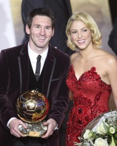 Messi and Shakira at the FIFA Ballon d'Or awarding ceremony in Zurich, Switzerland