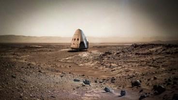 Vue d'artiste d'un Dragon v2 sur Mars