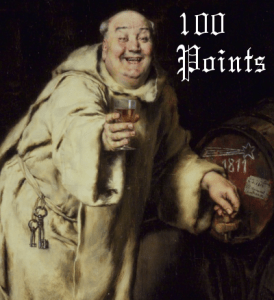 old painting of monk testing wine with 100 points caption