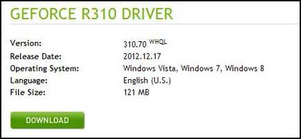 nVidia 310.70 WHQL