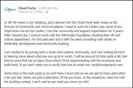 Facebook Cloud Party Post