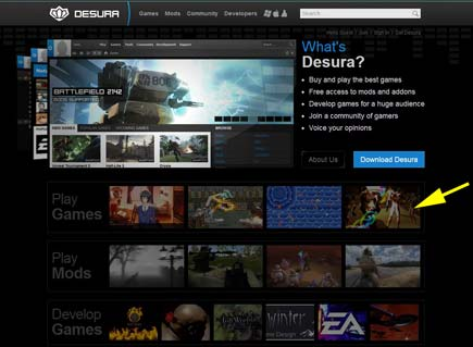 SEcond Life on Desura's Home Page