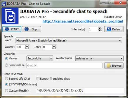 Second Life Chat to Speech Program