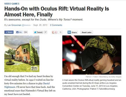Time's Coverage of the Oculus Rift