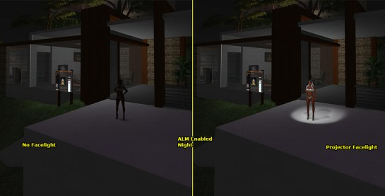 Windlight set to night. Left: Only Natural Lighting – Right: A Projector Light Worn