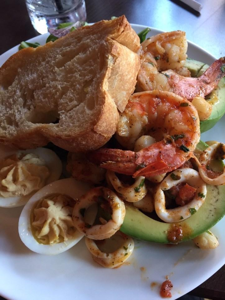 Shrimp, calamari, deviled eggs and toast