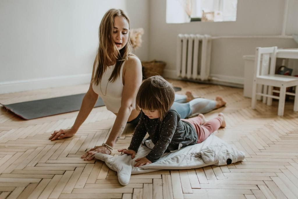 mom doing yoga with child
