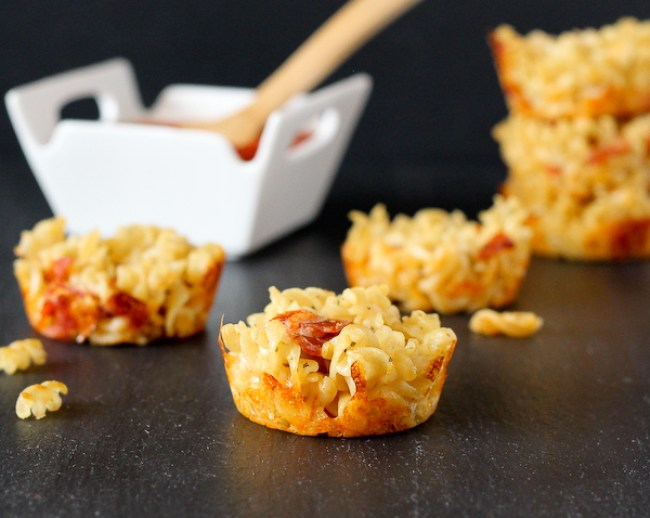Pizza Mac and Cheese Muffins from Rachel Gurk. Pizza and Mac and Cheese-- an irresistible combination.