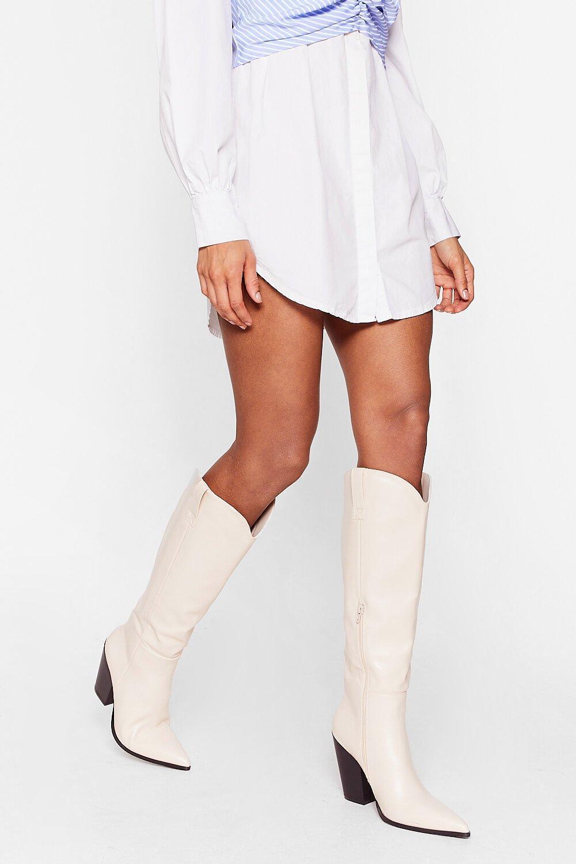 cream knee high cowboy boots