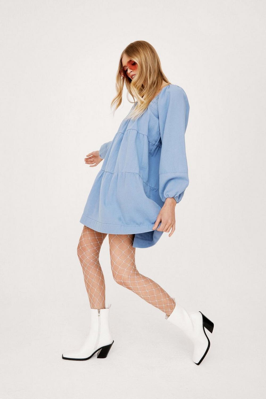 Denim long sleeve mini smock dress