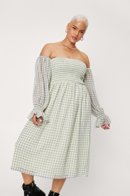 Off the shoulder green midi dress