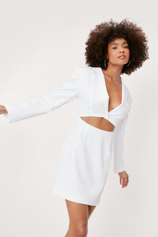 White cut out blazer mini dress