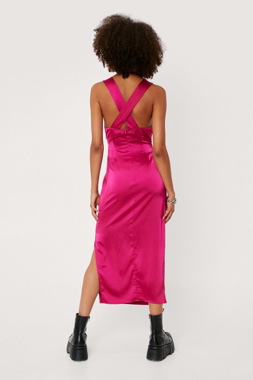 Pink midi satin slip dress