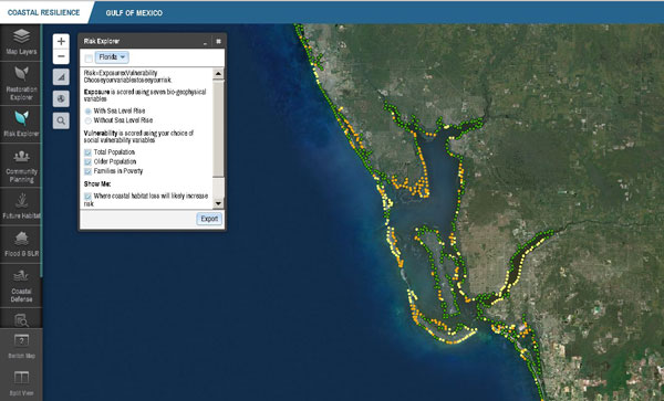 Screenshot from Risk Explorer feature of Coastal Resilience.org, showing  where loss of coastal habitat will likely increase risk (exposure to hazard x social vulnerability, including older populations and families in poverty) along a section of Florida coastline.