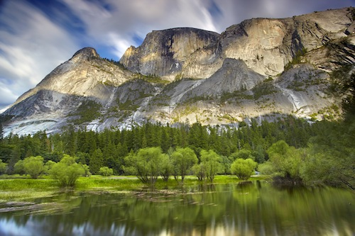 Mirror Lake in Yosemite Valley in California