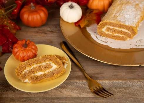 Keto Pumpkin Roll with Chestnut Cream