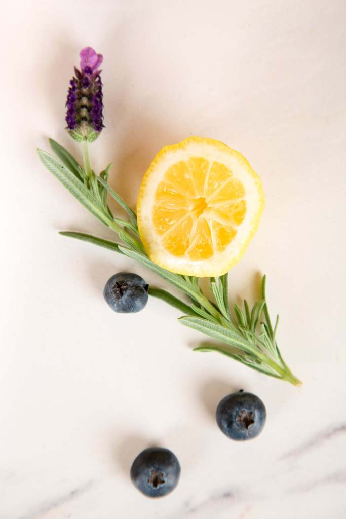 Fresh lavender, lemon, and blueberries.