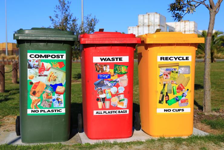 An example of compost bins in public, and how you can separate your compost.